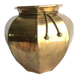 Vintage Hammered Brass Tassel Detail Vase For Sale