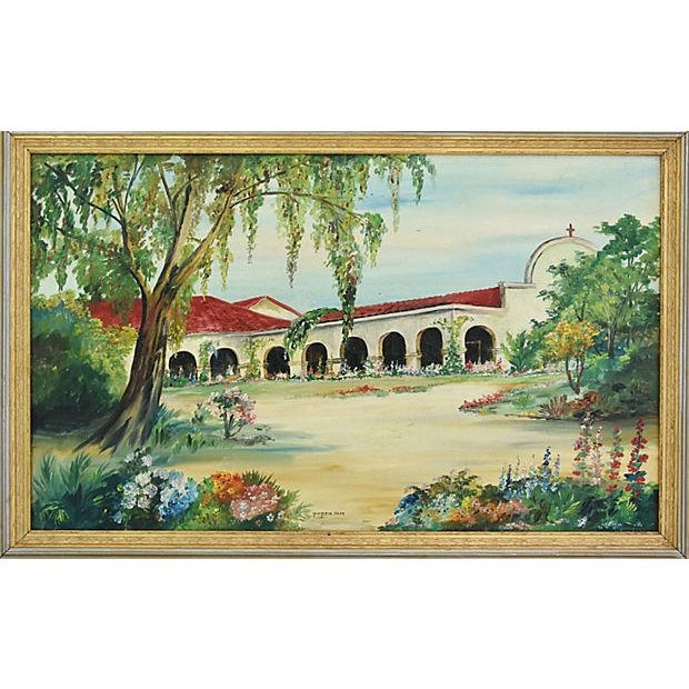 Cottage Mid-Century Framed San Juan Capistrano Mission Oil Painting by Georgiana Hehr For Sale - Image 3 of 10
