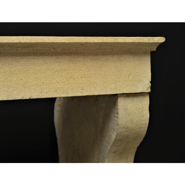 French Antique French Limestone Fireplace Mantel, 19th Century For Sale - Image 3 of 8