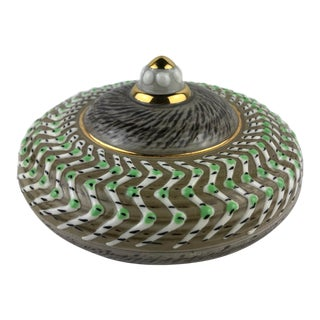Ceramic Lidded Trinket or Jewelry Box Signed Jacques Breugnot, 1950s For Sale
