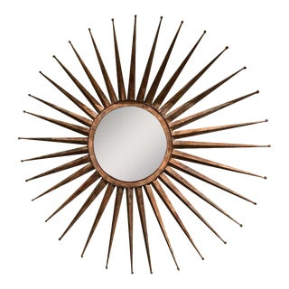 Monumental Mid Century Rustic Metal Starburst Mirror For Sale