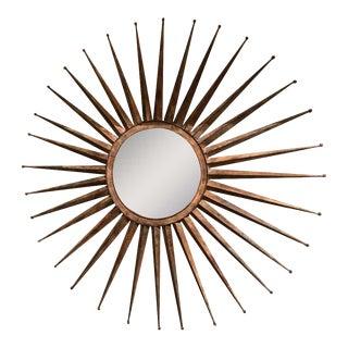 Monumental Mid Century Rustic Metal Starburst Mirror For Sale