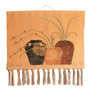 Vintage Handwoven Tapestry For Sale