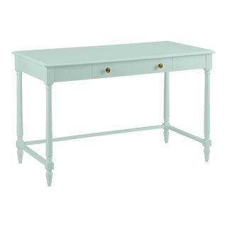 Devon Desk, Chiswell Blue, Knob Brass Pulls For Sale