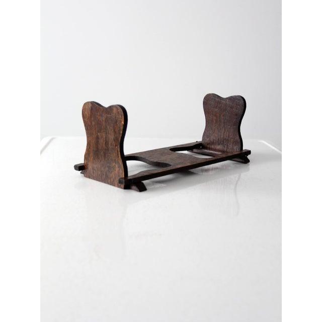 Antique Folding Wood Bookend Shelf - Image 3 of 6