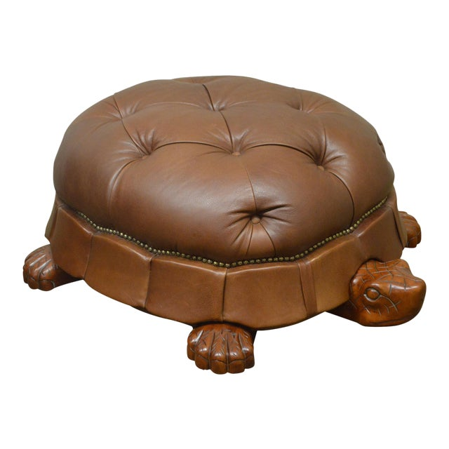 Vanguard Large Tufted Leather Turtle Ottoman Chairish