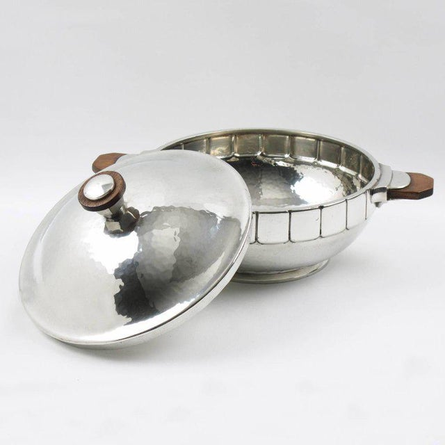 Art Deco Modernist Polished Pewter Tureen, Covered Dish Centerpiece by h.j. Geneve For Sale - Image 3 of 7
