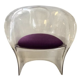 Acrylic Shell Chair With Purple Wool Upholstered Seat For Sale