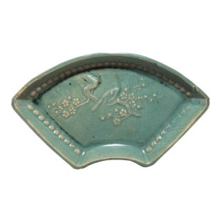Early 20th Century Chinese Celadon Fan Form Dish For Sale