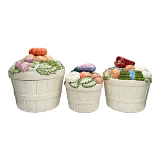 Large 1980's Fitz and Floyd Vegetable Basket Dishes/ Canisters - Set of 3 For Sale