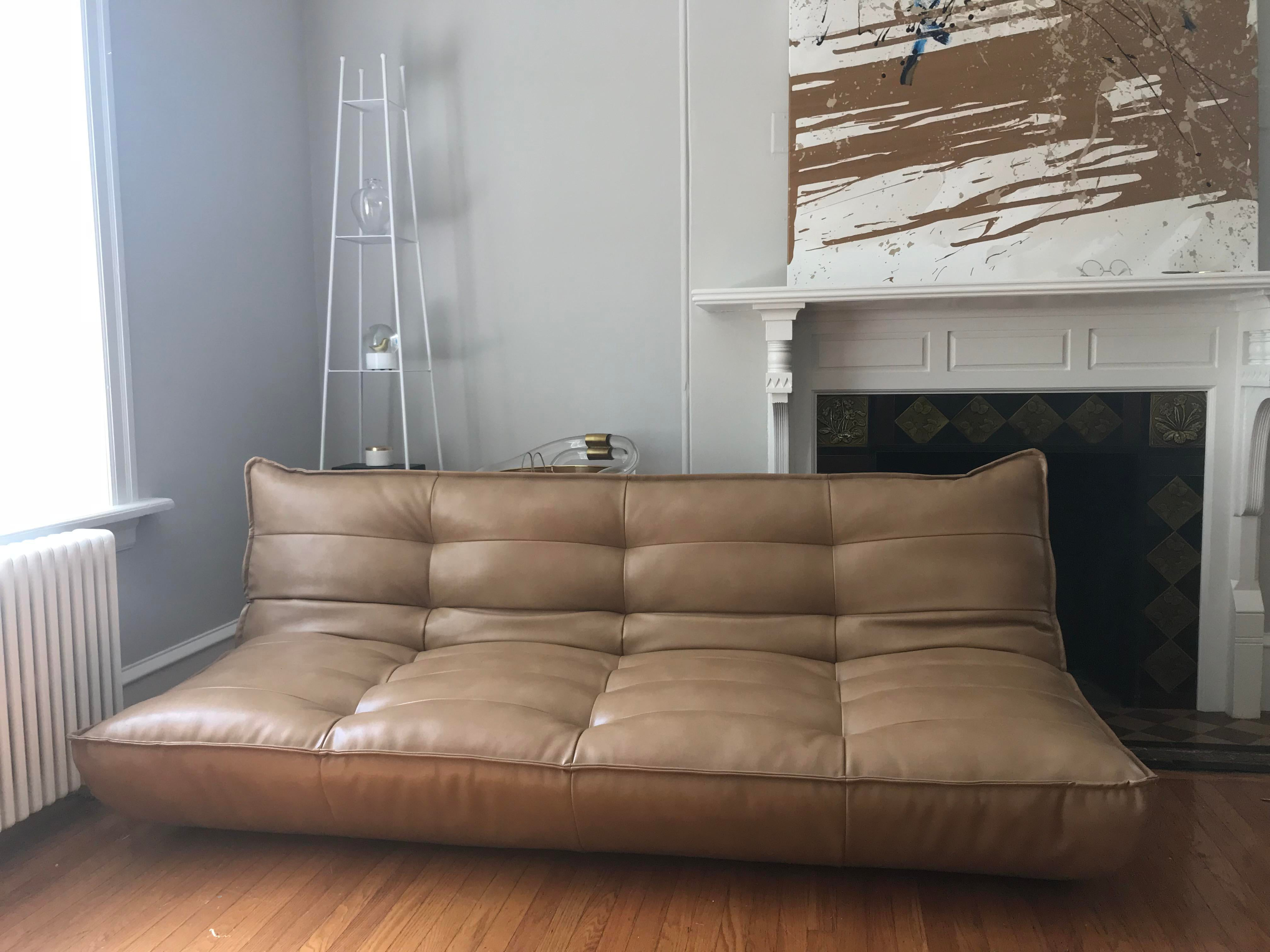 Recycled Xl Leather Sleeper Sofa From Urban Outfitters. Brand New. Retails  For $879