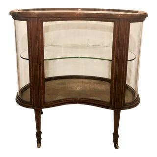 Antique English Mahogany Kidney Shape Vitrine, Circa 1880. For Sale