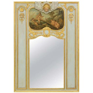 1920s French Painted and Parcel-Gilt Trumeau Mirror For Sale