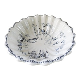 English Transferware Footed Bowl Aesthetic Bird Design For Sale