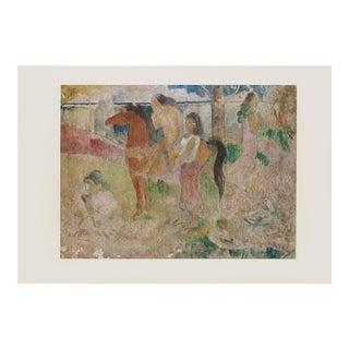 "Boho Chic 1959 Paul Gauguin ""Tahitian Scene"", Large Hungarian Photogravure For Sale"