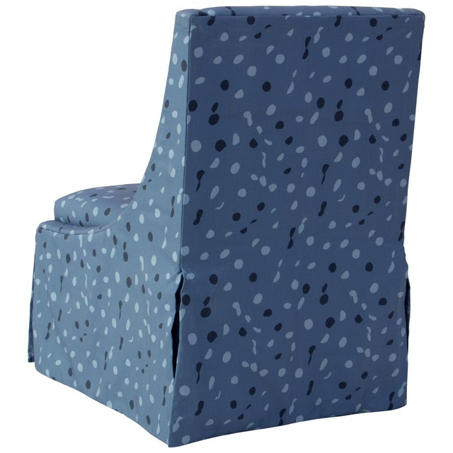 Angela Chrusciaki Blehm Skirted Accent Chair in Blue Dot by Angela Chrusciaki Blehm for Chairish For Sale - Image 4 of 10