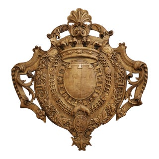 Mid-19th Century French Louis XV Carved Oak Wall Mounted Shield Sculpture For Sale