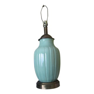 Fluted Ceramic & Brass Mid-Century Modern Lamp For Sale