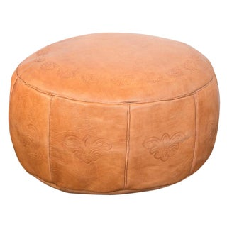 Antique Leather Moroccan Pouf -Camel Brown