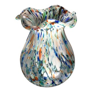 1980s Contemporary Millifiori Murano Art Glass Vase For Sale