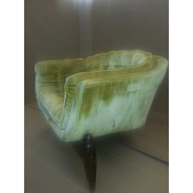 Gio Ponti Original Tufted & Tucked Gold Velvet Tripod Club Chair - Image 9 of 11
