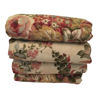 Vintage Custom Made Cotton Chinz Floral Print Lined Pinch Pleat Drapery Panels - Set of 4 For Sale