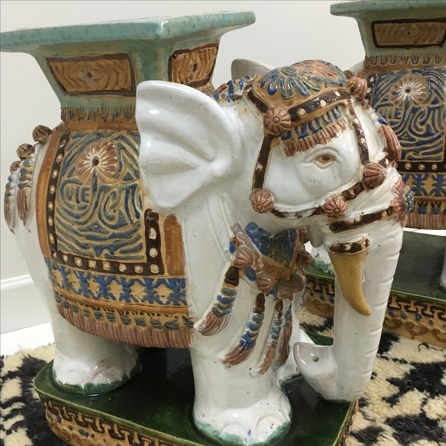 Asian Vintage Elephant Garden Stools - A Pair For Sale - Image 3 of 6