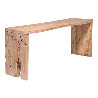 Blonde Provincial Reclaimed Elm Waterfall Console Table For Sale