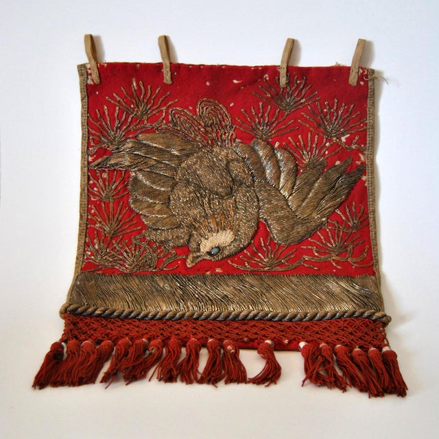 Late 19th century, all handmade, gold metallic thread hand-embroidered eagle on kesho-mawashi (ceremonial apron). This is...