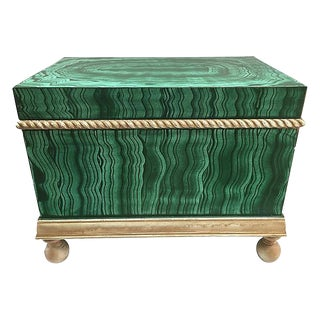 Faux-Malachite Hand-Painted Box For Sale