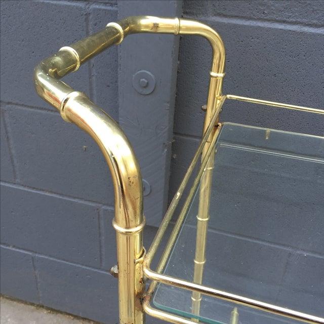 Brass Bar Cart with Bamboo Motif - Image 4 of 5