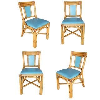 """Restored Mid Century """"T Back"""" Rattan Dining Side Chair, Set of Four For Sale"""