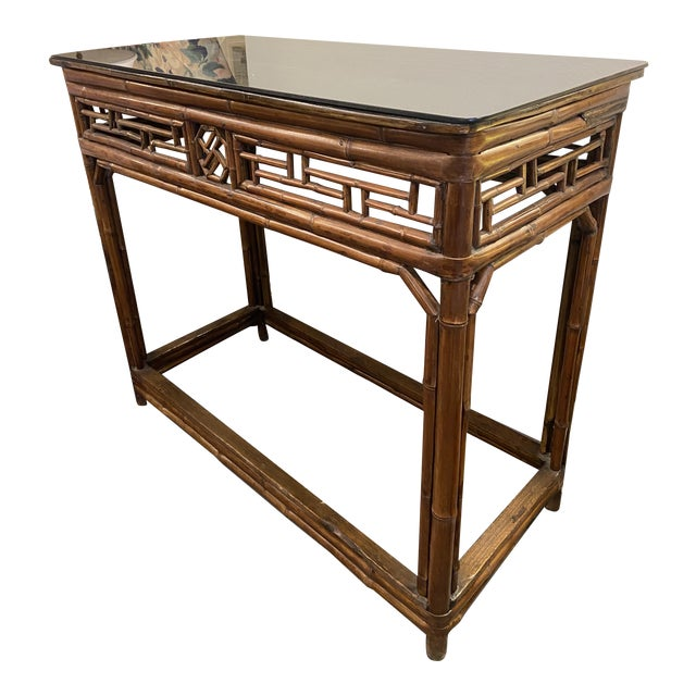 1960s Boho Chic Bamboo Walnut Console Table For Sale