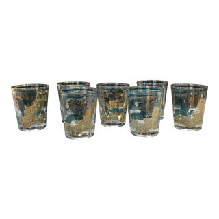 Mid-Century Modern Turquoise Gold Cera Chinese Dragon Rocks Glasses - Set of 7 For Sale