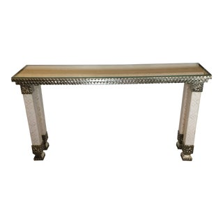 Handmade Inlay Bone and Hand Hammered German Silver Console Table For Sale