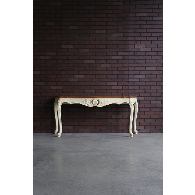 Maple French Country Ethan Allen Legacy Carved Console/Sofa Table For Sale - Image 7 of 7