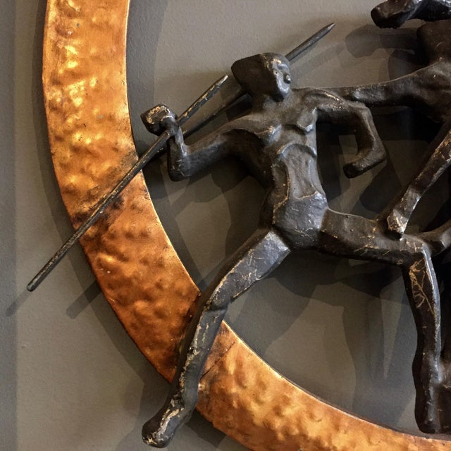 """Art Deco Set of 1930s Olympic Athlete Metal Wall Sculptures, 30"""" For Sale - Image 3 of 11"""