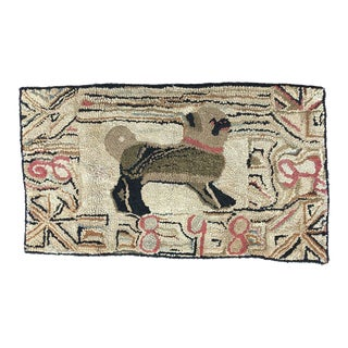 19th Century Pug Hooked Rug For Sale