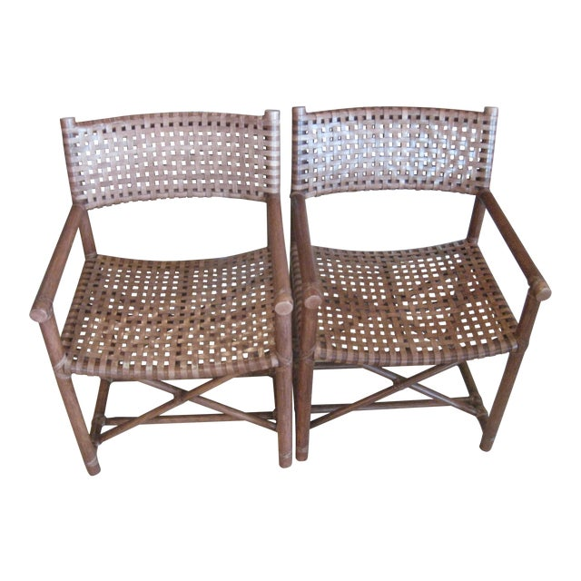 McGuire Leather Straps & Bamboo Chairs - a Pair For Sale