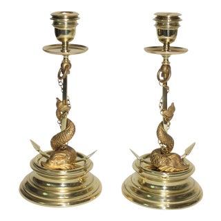 Gilt Bronze Candlesticks Sea Serpent Anchor Motif Italy Circa 1900 - a Pair For Sale