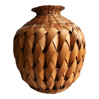 Vintage Mid Century Hand Woven Vase For Sale