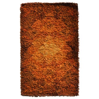 Scandinavian Modern Orange Red Gradient Sun Rya Rug For Sale