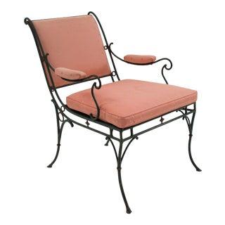 French Iron Sleigh Back Arm Chair For Sale