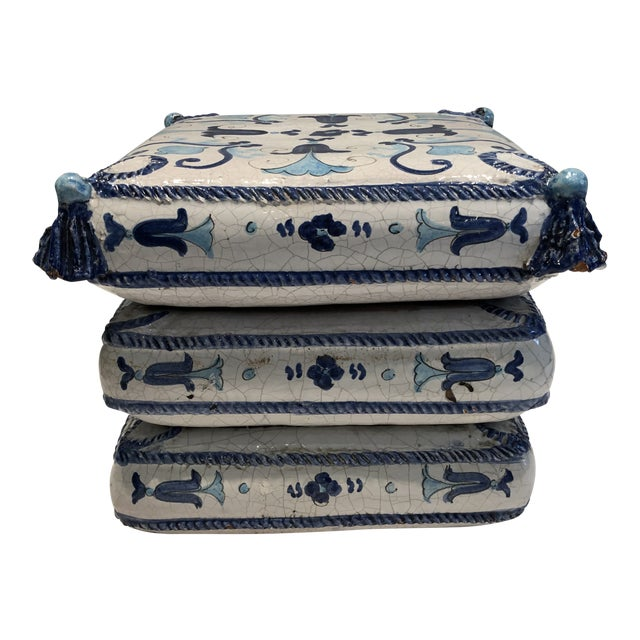 Italian Blue and White Ceramic Garden Seat/Side Table For Sale