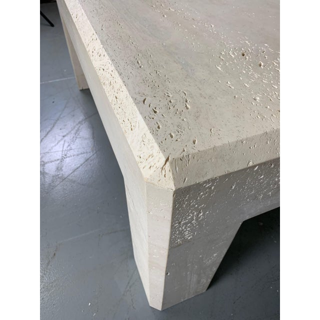 1980s 1980s Italian Travertine Square Coffee Table For Sale - Image 5 of 8