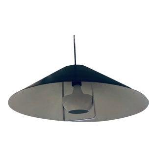 1960s Danish Modernist Black and White Metal Pendant Light in the Manner of Ph5 Pendant by Poul Henningsen Mid Century Modern Art Deco Satellite For Sale