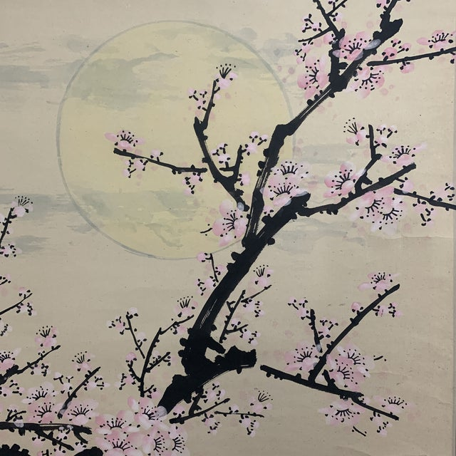 1950s Vintage Cherry Blossom and Moon Chinese Hanging Silk and Paper Scroll For Sale In Denver - Image 6 of 13