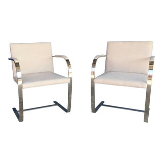 Vintage Mid Century Mies Van Der Rohe for Knoll Flat Bar Brno Chairs- A Pair For Sale