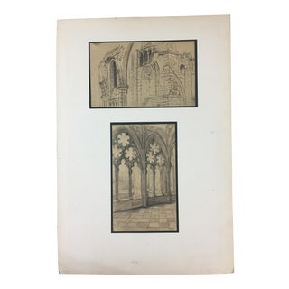 Antique Gothic Architectural Drawings For Sale