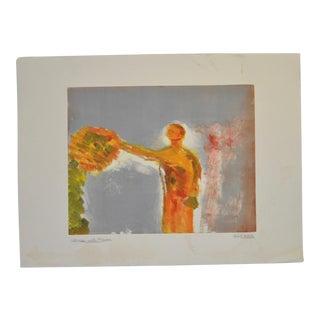 "Arthur Krakower ""Woman With Flower"" Original Monotype C.2006 For Sale"